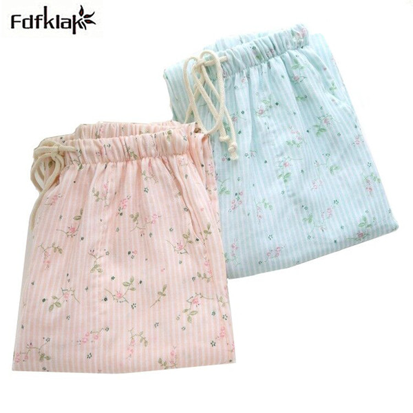 Fdfklak Fresh floral printed cotton sleep pants autumn winter home pants large size lounge pants pajama bottoms women trousers