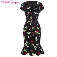 Donne ufficio dress estate 2017 stampa floreale 50 s vintage rockabilly manica corta sirena sexy wiggle aderente casual dress