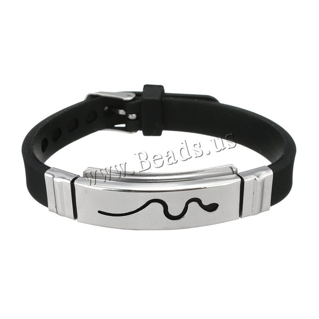 Silicone Men Bracelet Stainless Steel Wire Silicone Bracelets Cool ...