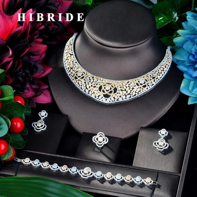HIBRIDE Latest Design  4 PCS Full Micro Cubic Zirconia Women Wedding Dress Choker Necklace Earring Jewelry Set For Wedding N-862HIBRIDE Latest Design  4 PCS Full Micro Cubic Zirconia Women Wedding Dress Choker Necklace Earring Jewelry Set For Wedding N-862