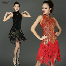 SZYMGS HOT FashioSequins Fringes Skirt Women Latin Tango Ballroom Salsa Dance Dress Party Costume Tassel women Dresses