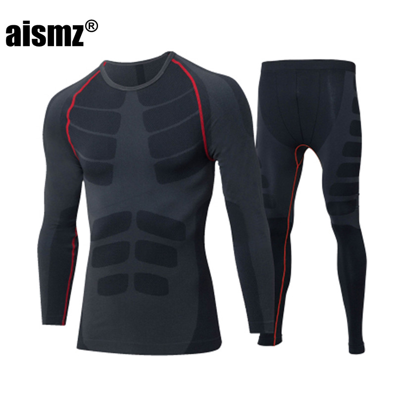 Aismz Winter Thermal Long John Underwear Sets Quick Dry Anti-microbial Stretch Men's Thermo Underwear Male Warm Long Johns