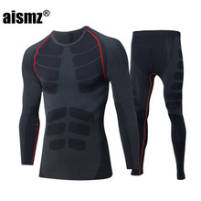 Aismz Winter Thermal Underwear Sets Quick Dry Anti-microbial Stretch Men's