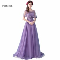 ruthshen Elegant A Line Party Dresses Short Sleeves Prom Dresses Arabic Dubai Vestidos Para Festa Curto 2018 Party Gowns