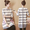 2016 Pregnant Dress Fashion Striped Dress Long Sleeved Vestidos Maternity Clothes For Pregnant Woman Pregnancy Clothes Autumn