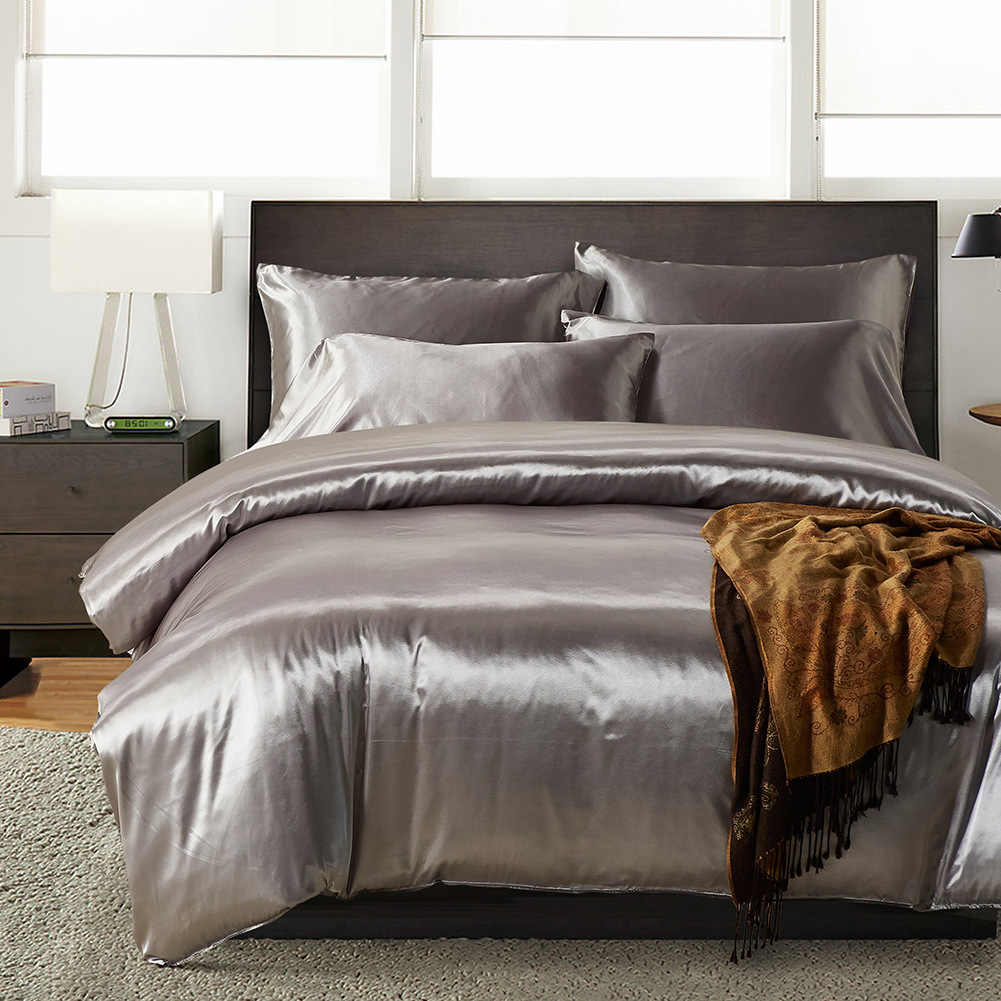 Single Doona Cover Nordic Style Silk Bedding Set Single Queen Size Satin Grey Duvet Cover Solid Color Set Simple Beautiful Bedclothes Silky Bed Set