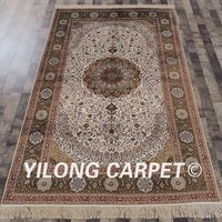 YILONG 5'x8' Antique handmade turkish rug white handmade artificial silk carpet (SCH085A5x8)