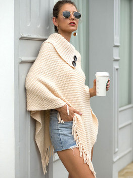 HEE GRAND New Women Wraps 2019 Fashion Tassels Cloaks Autumn Half Sleeve Knitted Pullovers Turn Down Collar Sweaters WZL1502 6
