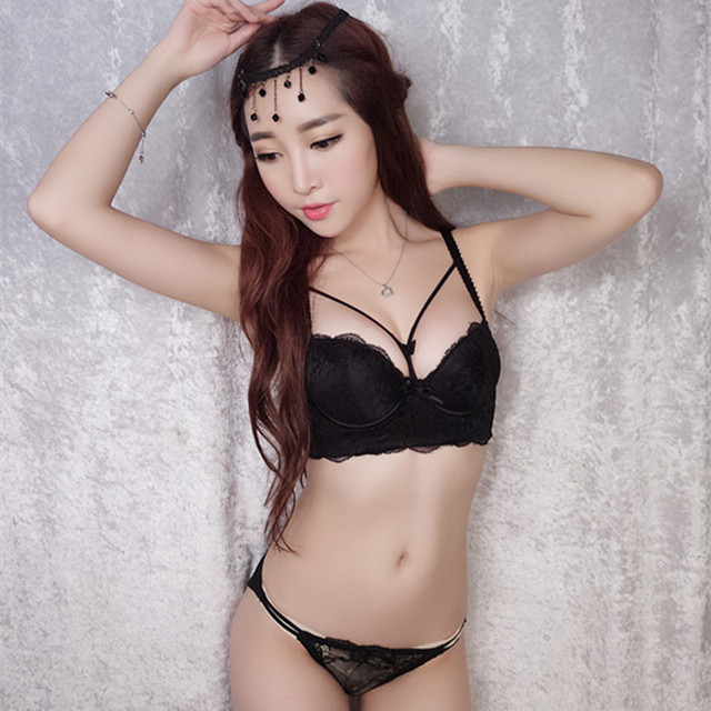 bf99a90b19bbd Fashion sexy lace hollow strap girl small chest gather bra set thin section thickened  push up bra set