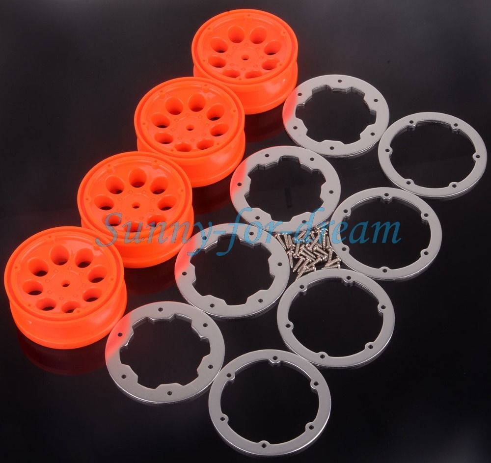 4xrc 1:10 Climbing Rock Crawler Wheel Rim Orange/silver Scx10 D90 Hsp 4032 Cc01 Remote Control Toys