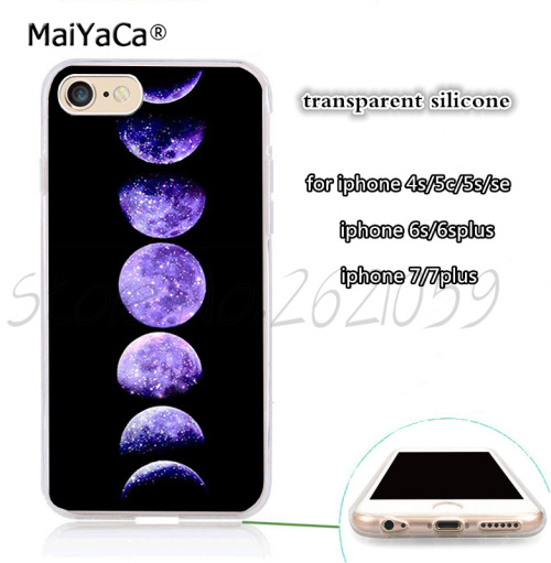 Phases of the moon clear transparent soft silicone phone case for iphone 5s se 6 6s 6plus 7 7plus 8 8plus X XR XS MAX case