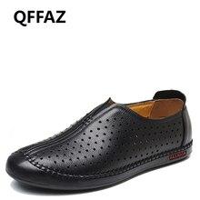 QFFAZ new men leather shoes men Casual Shoes flats breathable men shoes Moccasins Slip On loafer shoes black flat sandals
