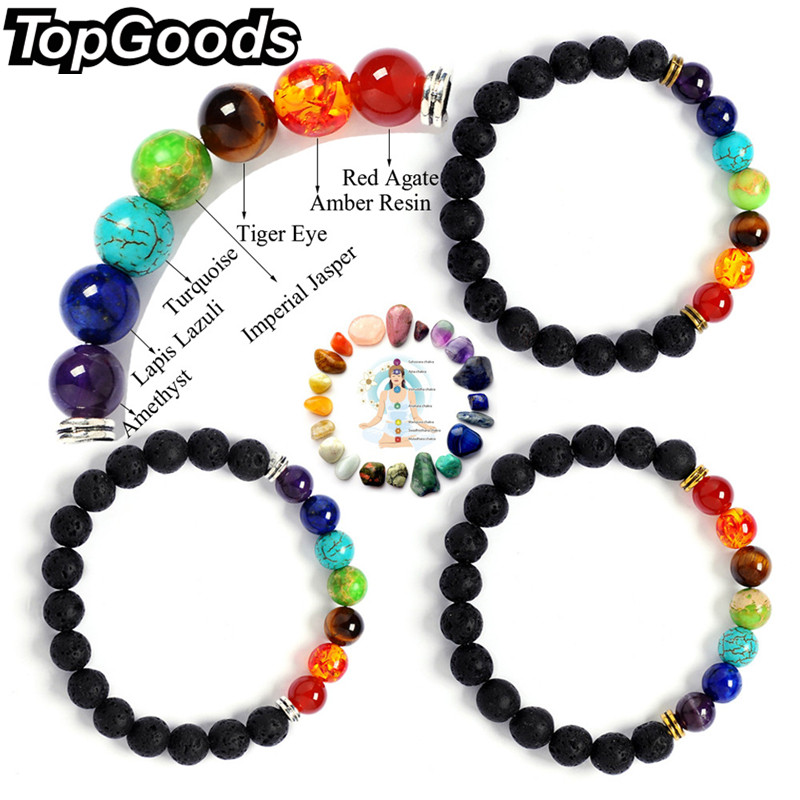 TopGoods Natural Stone 7 Chakra Bracelet Reiki Spiritual Yoga beaded Vintage Jewelry Beads Gemstone Charms Bracelets For Women все цены