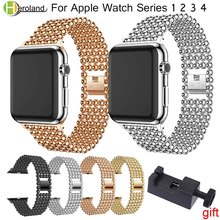 цена на Luxury Stainless Steel link Bracelet watch strap For Apple Watch Band 42 38 40 44 mm Metal watchband  iwatch 4/3/2/1 wrist strap