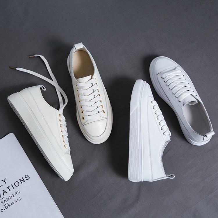 forme Véritable Sapatos Mocassins 35 Loisirs Sneakers 39 2018 white Blanc Stylesowner Fond Venir Lace Nouveau En Beige Casual Up Cuir Chaussures Plate Femmes hsdxQtCr