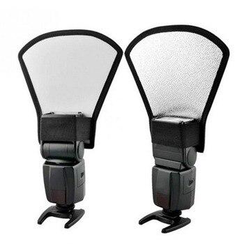 2 in 1 Universal DSLR Camera Flash Speedlite Diffuser Silver/White Reflector Board Softbox Soft Light For Canon Nikon Pentax