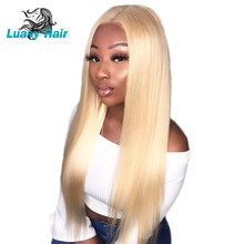 Luasy Honey Blonde Lace Frontal Human Hair Wigs For Black Women Pre Plucked With Baby Hair 613 Peruvian Remy Bob Wigs Full End(China)