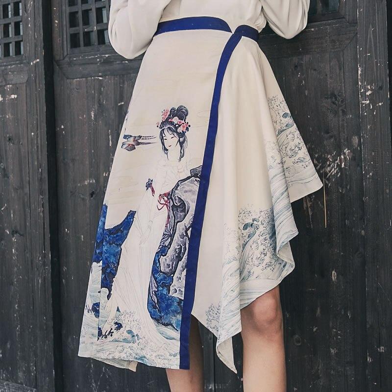 Femme xitao Casual Irrégulière D'été Wbb1510 Chinois Rétro Lâche A ligne Apricot Style Femmes 2019 Jupe Printemps Ruches PHPTrwq