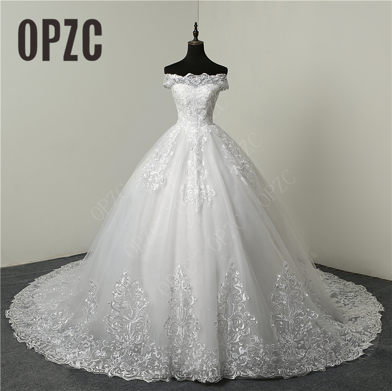 Wedding-Dresses Embroidery Lace Sweetheart Discount Long-Train Bride Elegant Plus-Size