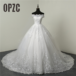 30% Discount Luxury Lace Embroidery 2020 Wedding Dresses 100cm Long Train Sweetheart Elegant Plus size Vestido De Noiva Bride(China)