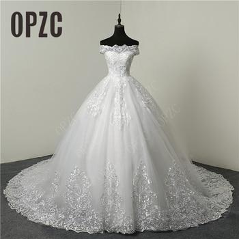 Discount Luxury Lace  Appliques Plus Size Wedding Dress Embroidery 2020 New Long Train Sweetheart Bride Gowns Vestidos De Noiva