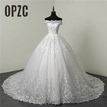 Rabat luksusowe koronki aplikacje Plus rozmiar suknia ślubna haft 2020 nowy długi pociąg Sweetheart Bride suknie Vestidos De Noiva