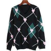 Mujeres Suéteres y Suéteres de Invierno 2018 Runway Diseño de Corazón Patrón de Rombos suéter de la Navidad Jumper Suéter de Punto Ocasional del Enrejado