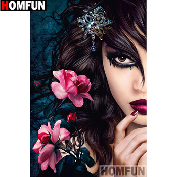 HOMFUN Full Square/Round Drill 5D DIY Diamond Painting Flower woman 3D Embroidery Cross Stitch Home Decor A13420