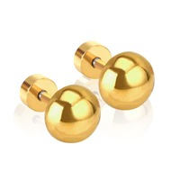 f3055efcf Round Stud Earrings Screw Ball Stainless Steel Gold/Silver Color Female  Statement Earrings Children Jewelry