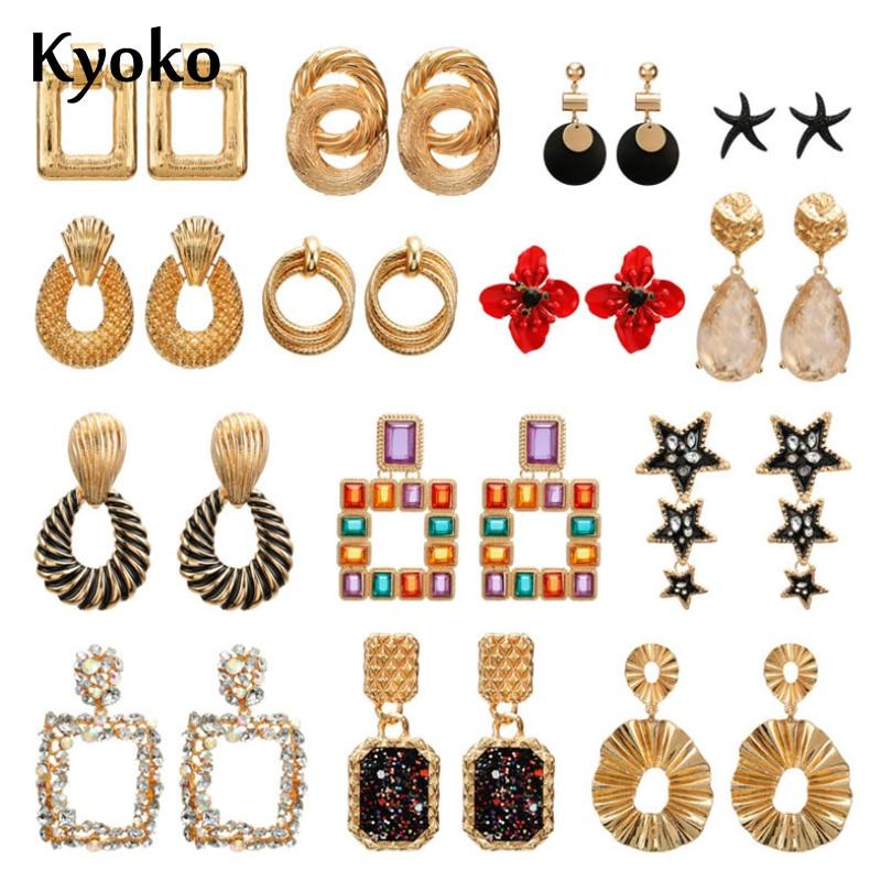 Kyoko 2019 Designs Gold Earrings Geometric Statement Earrings Metal Vintage Earring Black Red Korean Fashion for Women Jewelry gorras planas de fortnite