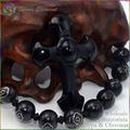 Natural Stone Black Obsidian Carving Cross Pendants With Rope 35X52MM