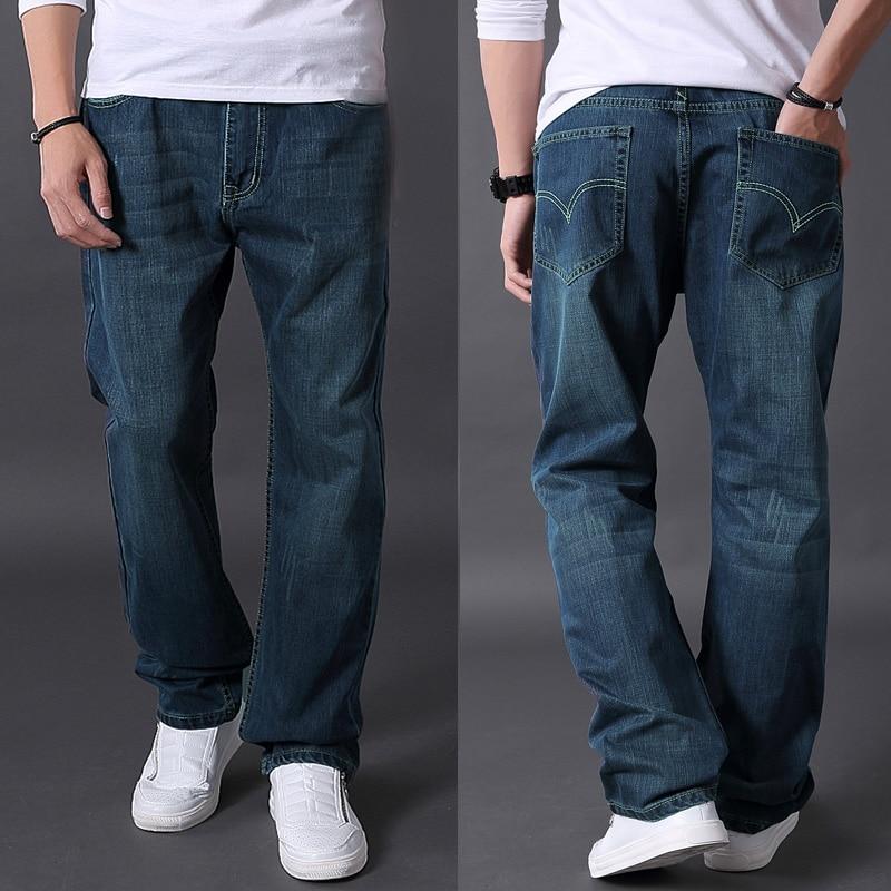 Autumn trousers jeans plus size long trousers male loose fat jeans plus size straight pants
