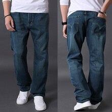 Осень брюки джинсы Большой размер длинные брюки мужчины широкий жирные джинсы Большой размер прямые брюки