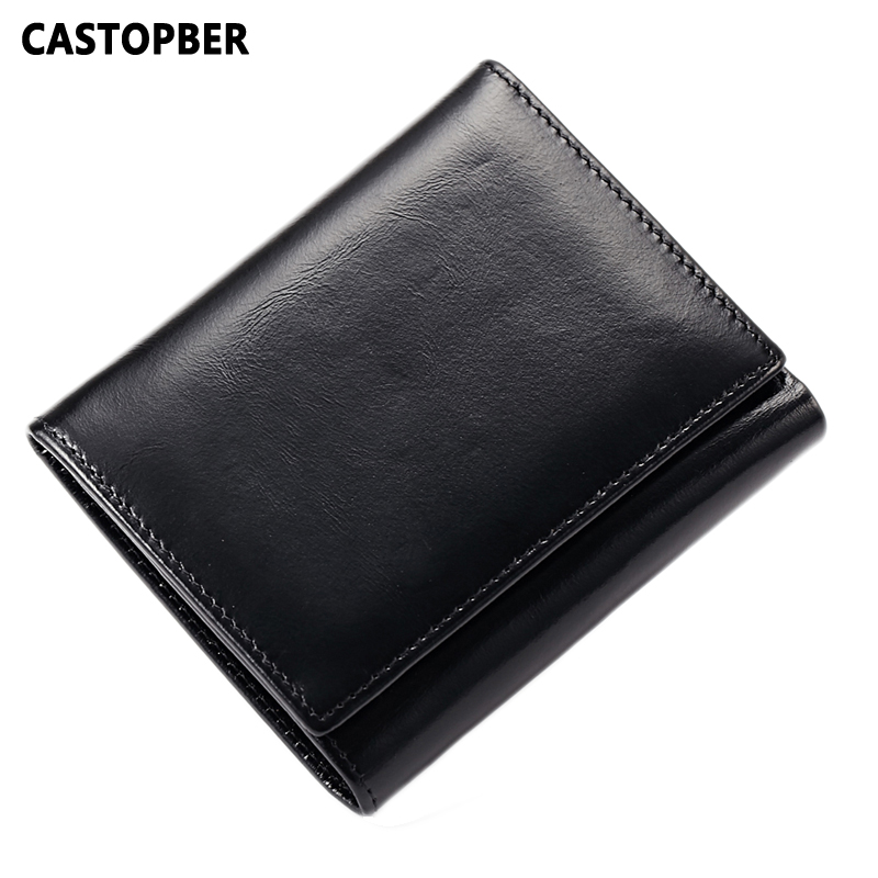 Men's Wallet Leather Genuine 3 Fold First Layer Of Cowhide Oil Wax Leather Women Wallets Short Style Card Holders Purse Fashion simline fashion genuine leather real cowhide women lady short slim wallet wallets purse card holder zipper coin pocket ladies