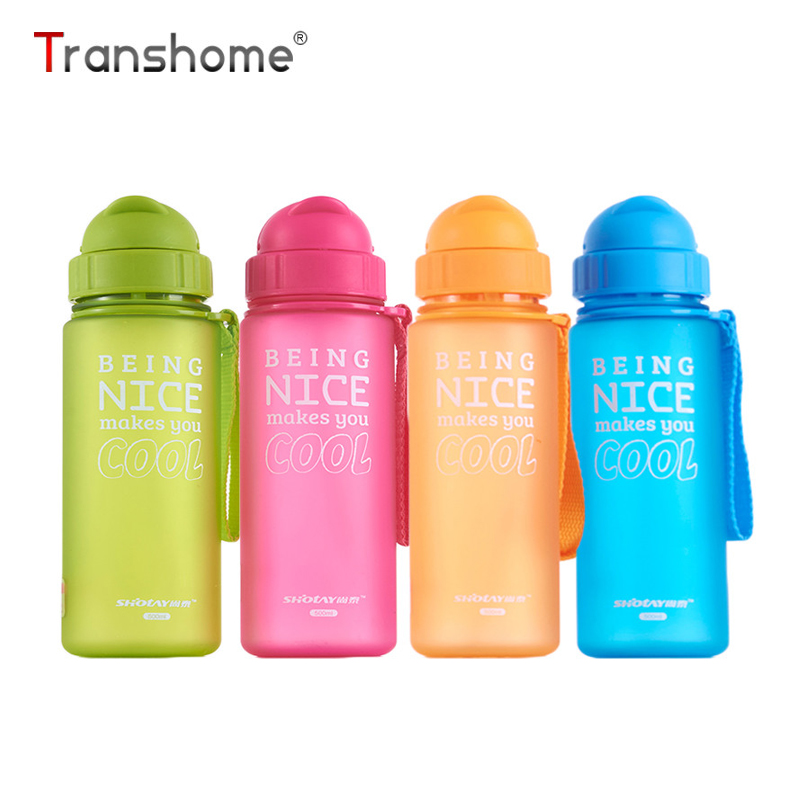 Transhome Kids Water Bottle With Straw Water Bottles Plastic Bottles For Travel Sport Water Bottles BPA Free Outdoor Drinkware plastic