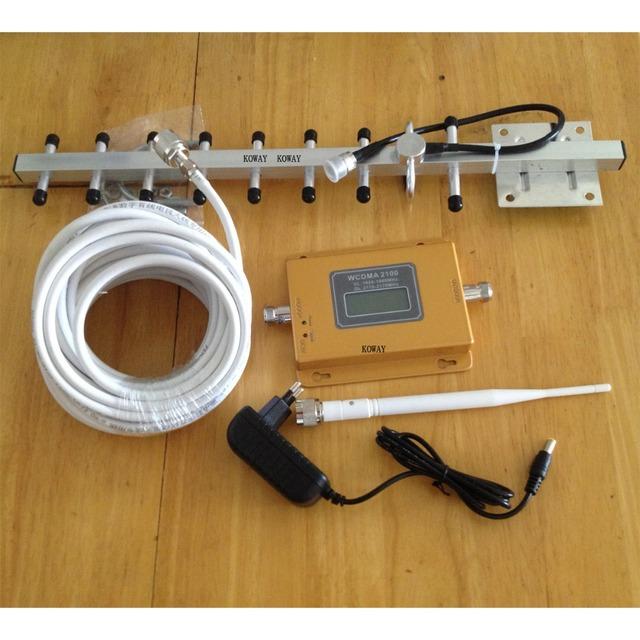 2016 nuevo teléfono celular 3g wcdma amplificador de señal 3g REPETIDOR de SEÑAL LCD señal amplificador antena yagi conjunto completo