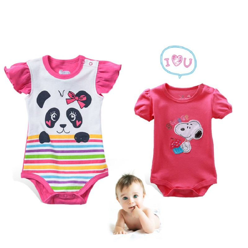 Cute Panda Newborn Baby Girls Clothes Ropa Bebe Cotton Short Sleeve Flower Baby Rompers Jumpsuit Clothing