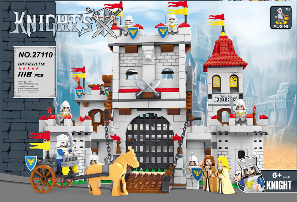 Ausini building block set compatible with lego Knights castle series 037 3D Construction Brick Educational Hobbies Toys for Kids newest track train brick building block set educational diy construction toys for children enlighten bricks compatible with lego