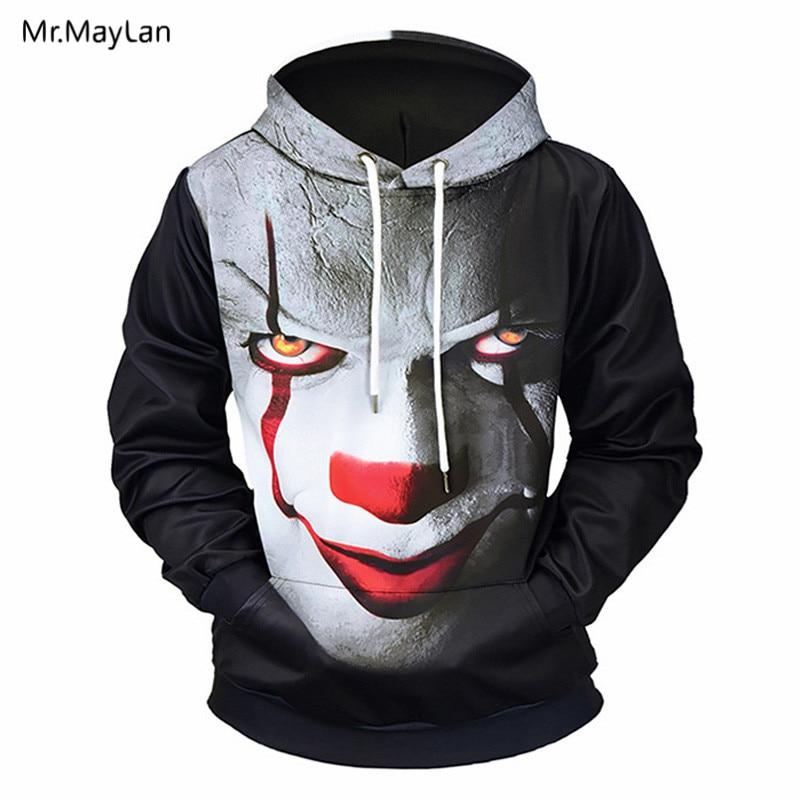 Horror Devil Clown Joker 3D Printed Jackets Men/Women Hiphop Pullover Hoodies Boys Streetwear Hood Sweatshirts ropa de hombre bluzy męskie z kapturem