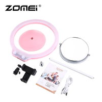 Zomei 5pcs/Set Photography Lamp Desk LED Ring Light Dimmable Makeup Light with Mirror Camera Ball Head for Photo Studio Video