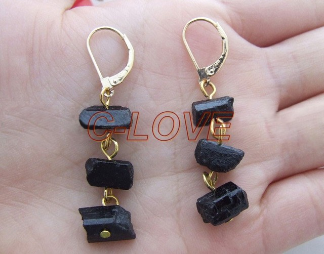 @@~~ Black Tourmaline Earring-Gold Plated Leaveback   free+ shippment