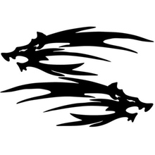 1 Pair Wild Wolf Vinyl Stickers Decals Helmet Tank Motorcycle Car Decal