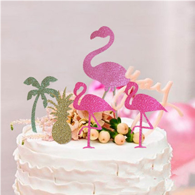 5pcs Pink Flamingo Party Decoration Cupcake Topper Picks Tropical Hawiian Luau Theme Wedding Cake Coconut Trees Pineapple