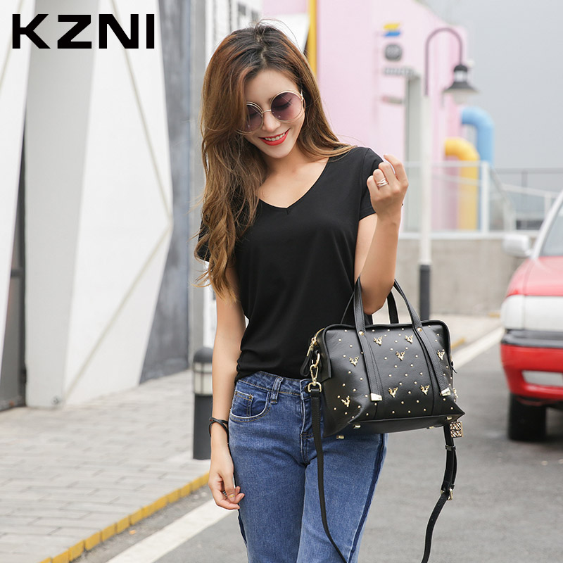 KZNI Female Bags Leather Genuine Handbags Women Top-Handle Crossbody Shoulder Clutch Bags for Girls Purses and Handbags 1331 kzni real leather tote bag high quality women leather handbags top handle bags purses and handbags bolsa feminina pochette 9057