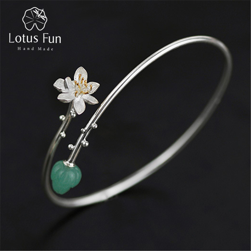 Lotus Fun Real 925 Sterling Silver Natural Aventurine Handmade Fine Jewelry Delicate Lotus Whisper Design Bangle
