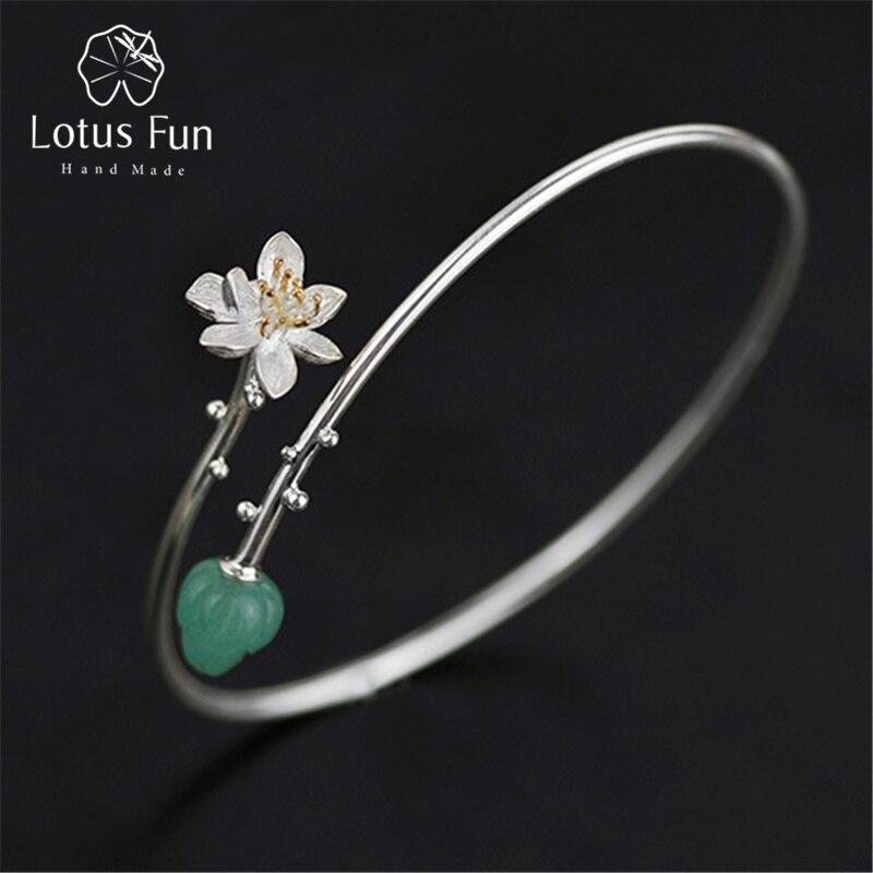 Lotus Plaisir Réel 925 Sterling Argent Naturel Aventurine Main bijoux fins Délicat Lotus Murmure Conception Bracelet pour les Femmes