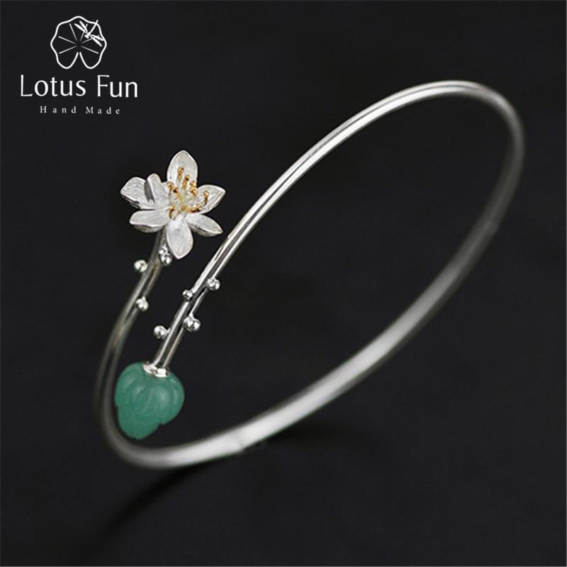 Lotus Fun Real 925 Sterling Silver Natural Aventurine Handmade Fine Jewelry Delicate Lotus Whisper Design Bangle for Women