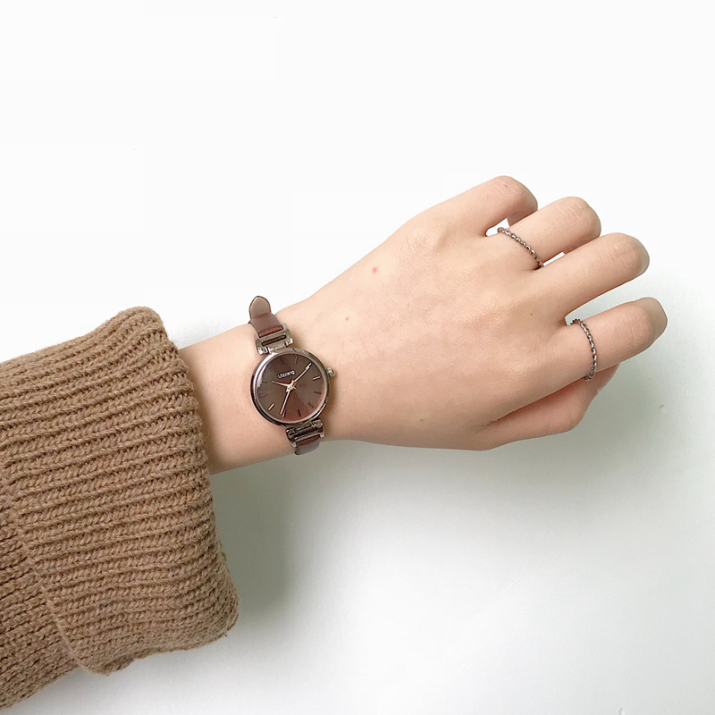 Ulzzang Fashion Brand Women Bracelet Watches Retro Brown Vintage Leather Watch Female Quartz Clock Casual Ladies Wristwatches