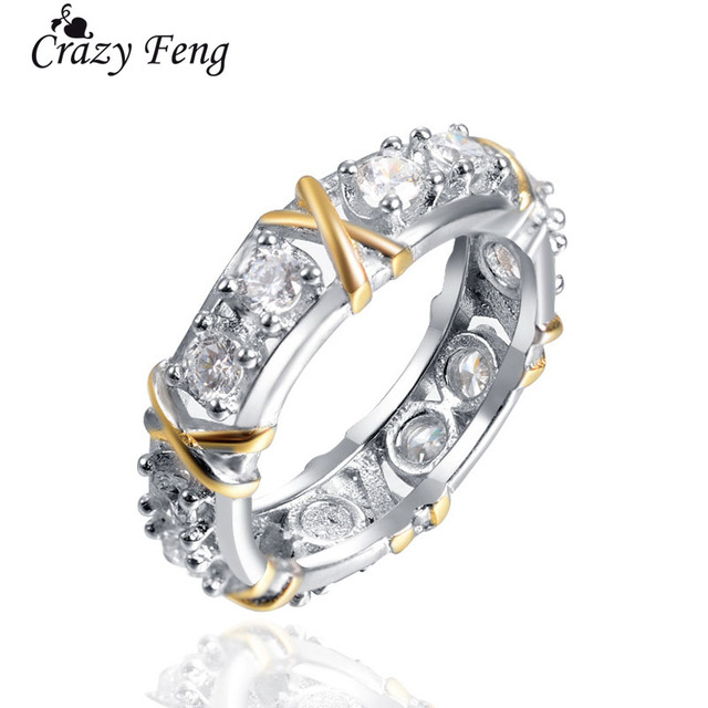 Crazy Feng Cross X Rhinestone Ring For Women Wedding Party Rings Luxury Gold Pur