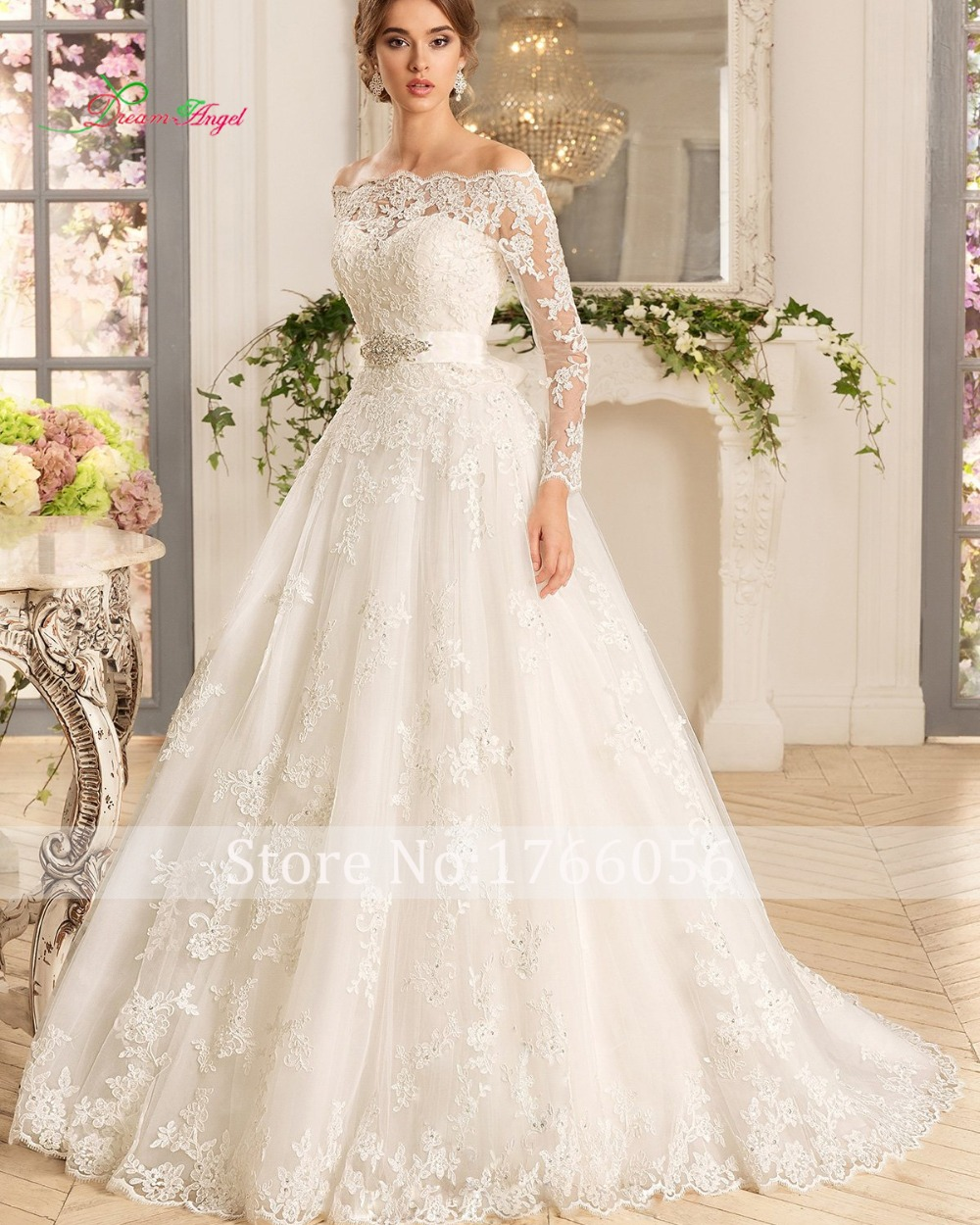 new designer luxury boat neck long sleeve lace a line wedding dress 2017 cheap appliques beaded
